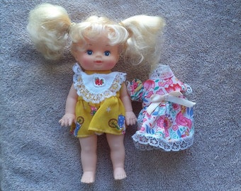 Vintage doll baby  ,1990's doll baby  ,Vintage  doll, Doll with yellow dress, blonde hair doll