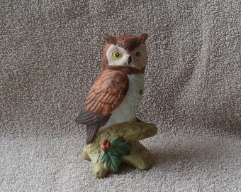 Owl figurine, Owl knick knack , Brown and white knick knack, Gift for owl collector, Owl statue , Housewarming gift , Ceramic figurine