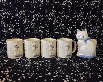 Here Coffee Coffee~Otagiri~Cat~Blue Bow~Napkin Holder~Set of 4 Mugs~Coffee Table Setting