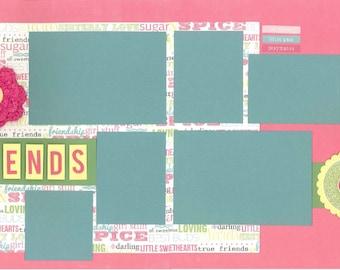 12x12 FRIENDS scrapbook page kit, premade friend scrapbook, 12x12 premade scrapbook page, premade scrapbook page, 12x12 scrapbook layout