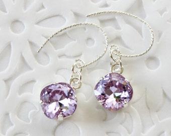 Swarovski violet crystal sterling silver earrings