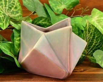 Muncie Pottery Vase Green Drip Over Lilac Ruba Rombic Ashtray (Shape 312-5) MUNCIE, 1928