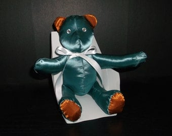 Teal and copper satin bear