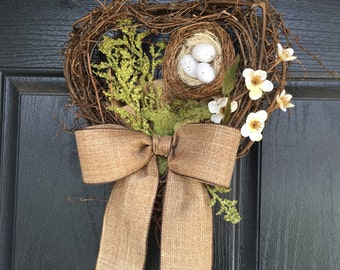 Grapevine door hanger with nest - spring wreath alternative