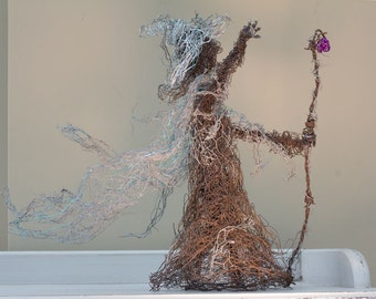 Wire witch sculpture/statue/figure - part recycled
