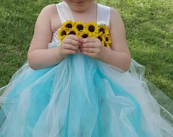 Teal Ivory Sunflower Tutu Dress  - Newborn Infant Toddler - Flower Girl Birthday Dress Spring