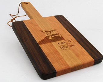 Handcrafted Wood Cutting Board - Paddle Board,Cherry & Walnut, Breaking Bad,funny cutting board,laser engraved, Lets cook,Heisenberg