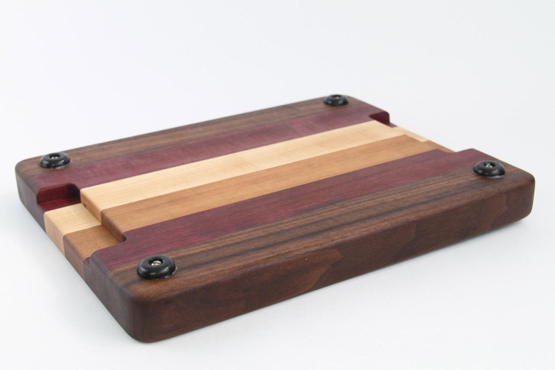Wood Edged Board ~ Handcrafted wood cutting board edge grain walnut no