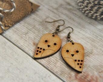 Wooden Owl  Drop Earrings