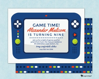 Playing Time Birthday Party Invitation - birthday party, invitation, gaming, games, controller, playing, buttons, fun, card, template