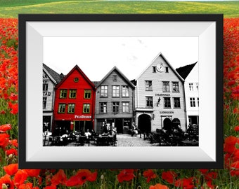 Black and White Travel Print Bergen Norway, Travel Photography, Fine Art Photography, Instant Download, red, architecture, Digital Download