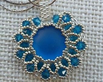 Seed beads pendant qith Swarovski crystal - handmade jewelry