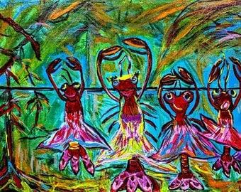 "ultimedia Acrylic Canvas painting ""Swamp Pop Ballet"" artist Sharon Furratte, high quality prints, Louisiana art, Abstract Louisiana Art"