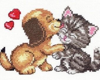 Cross Stitch Kit Love (cat and dog)
