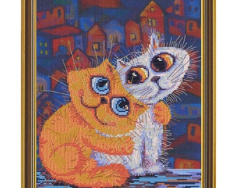 Cross Stitch Kit Cats'love
