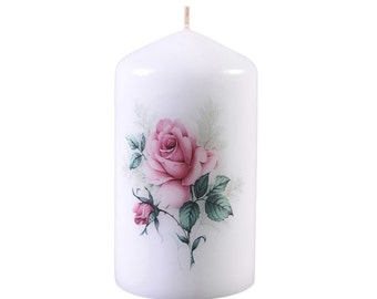 Rose -Scented Floral  Bouquet Pillar Candle