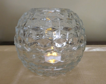 Vintage Cube-style Clear Glass Fairy Lamp by Homco