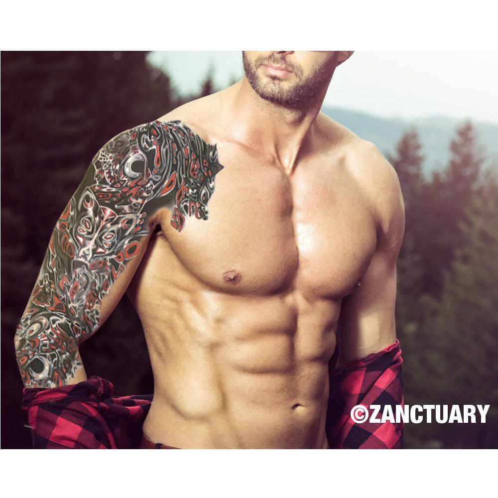 Men temporary tattoo sleeve full arm temporary tattoo men for Temporary tattoos sleeve