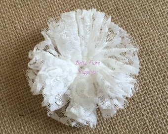 White Lace Ballerina Flowers, Lace Flowers- 3 inch, Wholesale, DIY, Lace Headband