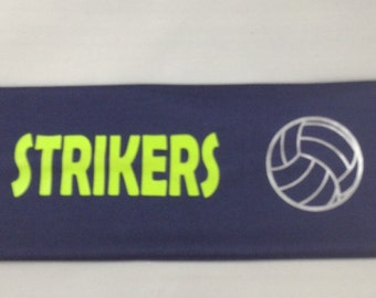 "3 1/2"" Wide Volleyball/Team Name  Navy  Headband"