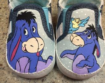 Custom hand painted Eeyore baby shoes
