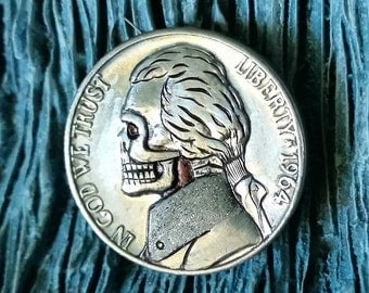 1964 Jefferson Nickel Skull - Hobo Nickel - Hand Carved