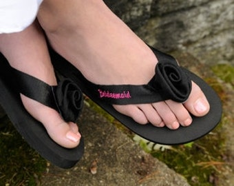 Flip Flop Sandal Personalized Black With Choice Of Embroidery Color - Bridesmaid Gift Beach Wedding