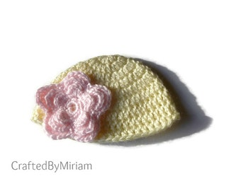 Crocheted Baby Hat With a Flower, Baby Girl Hat, Baptism Gifts, Baby Shower Gifts