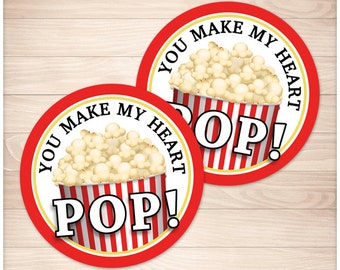 Printable Popcorn 'You Make My Heart Pop' round Favor Gift Tags or Stickers - 2-inch Valentine's Day Popcorn Favor Tag - PDF