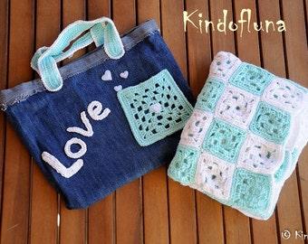 Crochet Baby Blanket, Baby Blanket, White, Aqua Green, travel stroller pram size