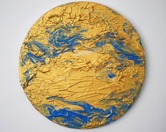 Acrylic abstract painting, round painting, wall art with azure and gold color