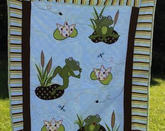 Frog Quilt, Gender Neutral Quilt, Baby Quilt