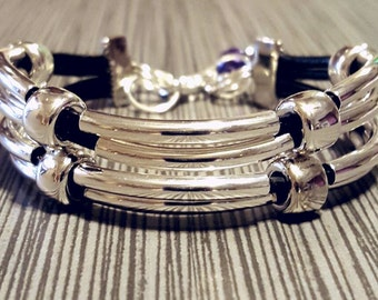 Silver and Leather beaded bracelet
