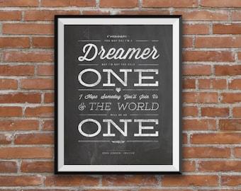 John Lennon Imagine, John Lennon lyrics, love, song lyrics, Typography, quote art, lyric art, home decor, Blackboard, unique design