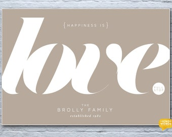 Love print, family print, couples print, love wall art, minimalist love print, personalised wall art