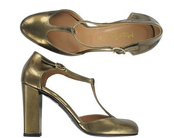 Gold T strap heel shoes, t strap leather heels, Gold leather pumps, Gold leather shoes, Italy shoes,Women pumps, Justine