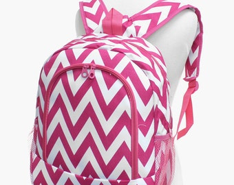 Monogram Backpack or  Lunch Bag/ Chevron Fuchsia / FREE MONOGRAM
