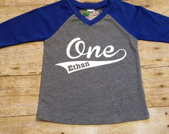 First Birthday Shirt Baseball Style 3/4 Sleeve Raglan NAME and NUMBER One Shirt  Custom Birthday (AGE 1-6)