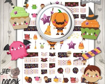 50%OFF - Halloween Stickers, Planner Stickers, Printable Stickers, Planner Accessories, Pumpkin, Halloween Cupcakes, Stickers