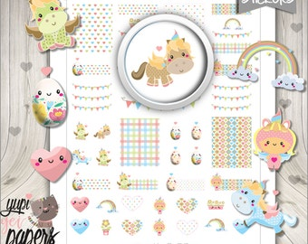 50%OFF - Unicorn Stickers, Planner Stickers, Easter Eggs, Rainbow Stickers, Planner Accessories, Easter Stickers, Digital Stickers