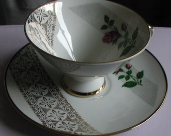 Vintage Mittereich Bavaria China Teacup and Saucer Rose Design