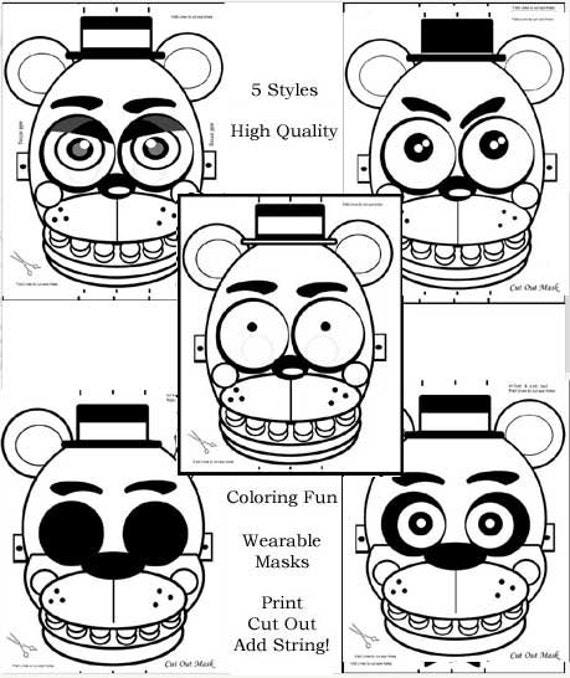 5 Masks FNAF Coloring Pages Party Favors Birthday
