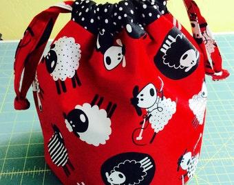 Tossed Sheep Knitting Drawstring Bag, Crochet Drawstring Tote WIP Bag, Small Project Bag