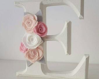 Felt Flower Wooden Letter