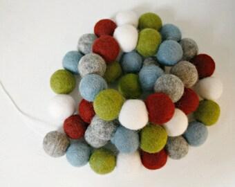 Felt Ball Christmas Garland - Pom Pom Garland - Holiday Mantle Decor - Red, Green & Blue Garland - Vintage Christmas - Silent Night