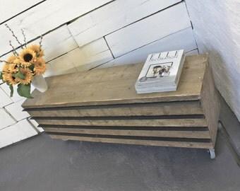Ceylan Reclaimed Scaffolding Board Long Low Slimline Drawer Unit on Wheels with Steel Handles - Bespoke Furniture by www.urbangrain.co.uk