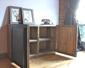 Sam Reclaimed Scaffolding Board Media Unit with Slatted Wood and Perforated Steel Clad Doors - Bespoke Furniture by www.urbangrain.co.uk