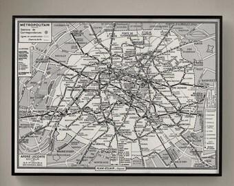 PARIS MÉTRO MAP, Vintage 1950's Guilmin's Parisian Métro Map, Old Paris Map, Vintage Maps, Retro Maps, Vintage Cartography, Paris Subway Map