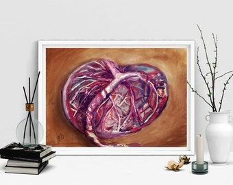 Placenta printable - digital BIRTH ART - beautiful heart shaped placenta - natural birth, DOULA, midwife, art poster print at home