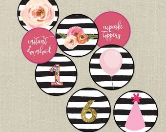 Printable Floral Cupcake Wrappers and Toppers